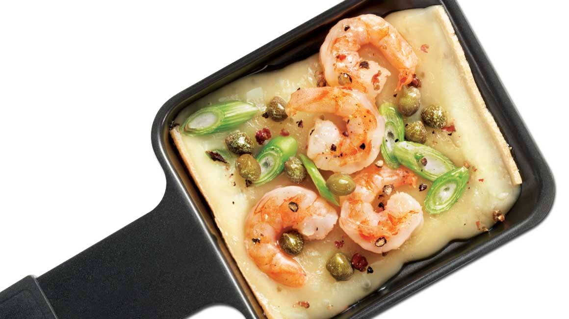 Raclette cheese with shrimp and sour cream | {Raclette 48}