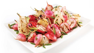 Grilled multi-coloured radishes