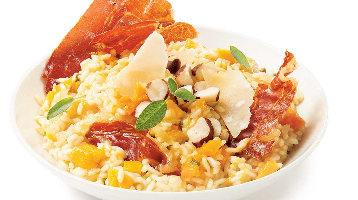 Squash risotto with prosciutto chips