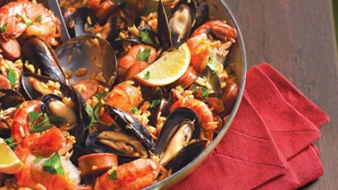 Spanish rice with grilled chorizo and seafood