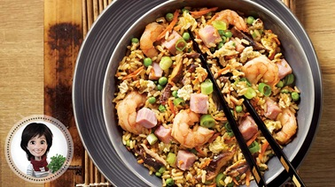 Shrimp and ham fried rice from Josée di Stasio
