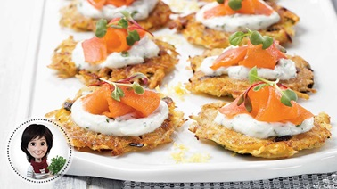 Potato and smoked salmon rostis from Josée di Stasio