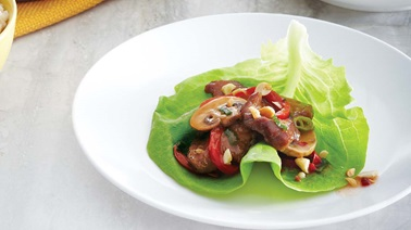 Sweet and sour pork lettuce wraps