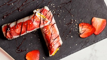 Fruit and chocolate spring rolls