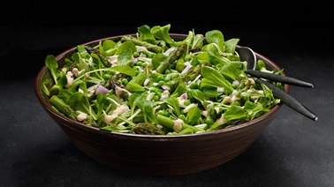Mache, Asparagus, Pea, and Shallot Salad