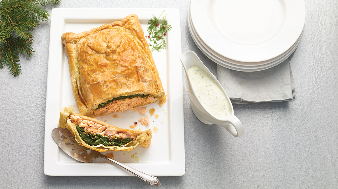 Salmon Wellington with express cheese sauce