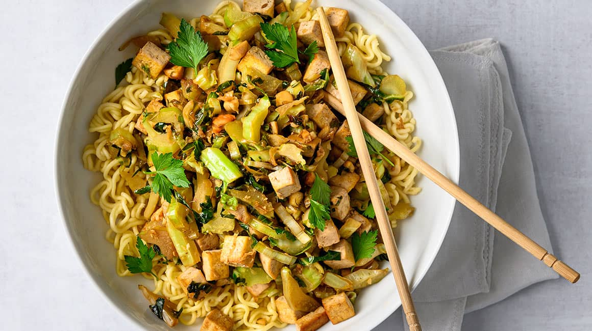 Asian Stir Fry With Cauliflower Leaves Tofu Iga Recipes