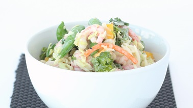 Asian-style salad with shrimp and creamy sesame-ginger dressing