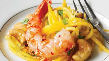 Sweet chili shrimp with green mango salad