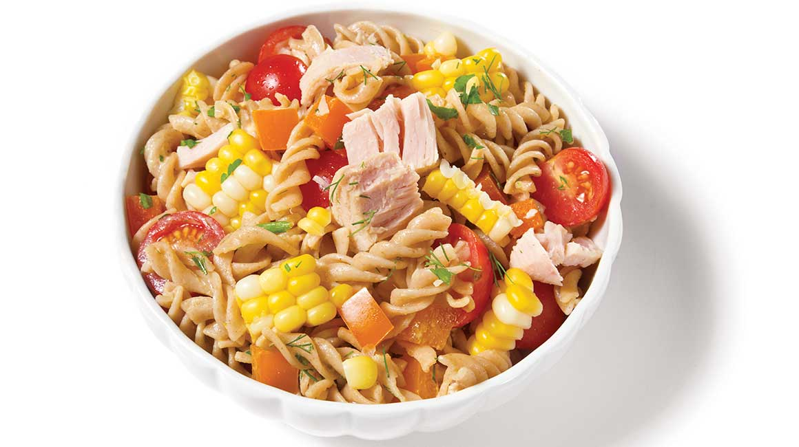 Pasta, corn, and tuna salad