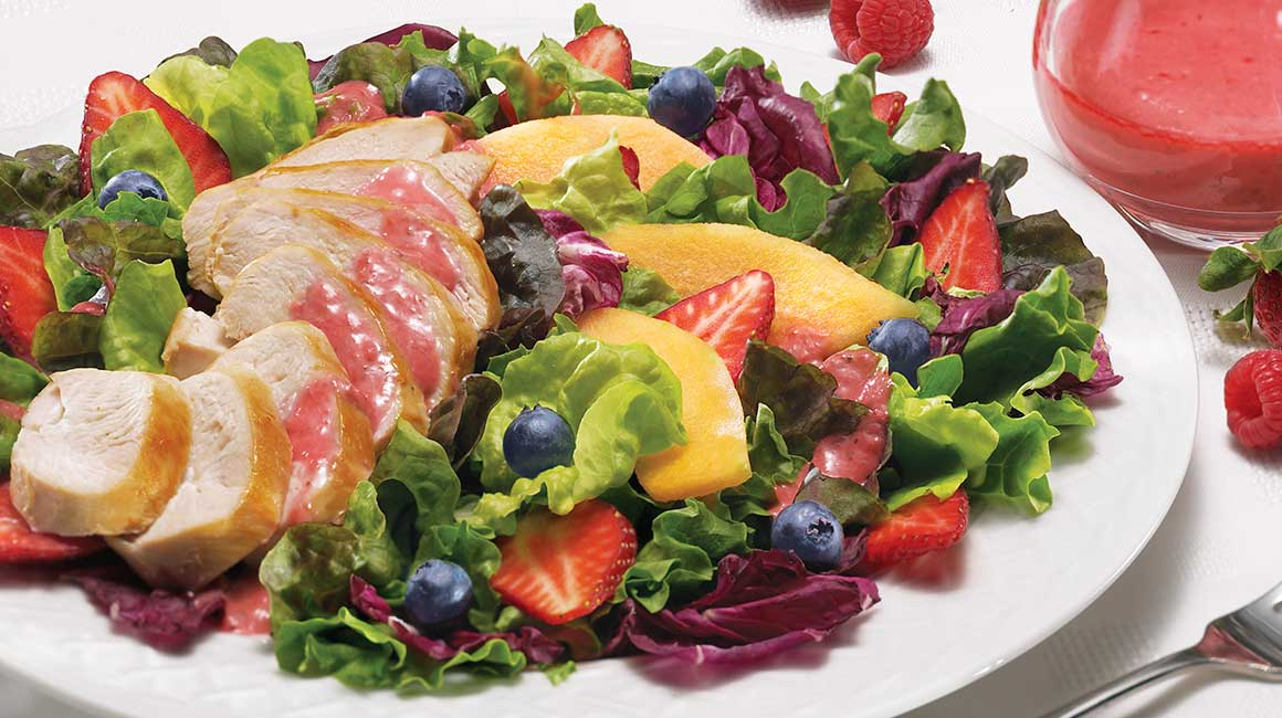 Salade de poulet aux parfums de fruits