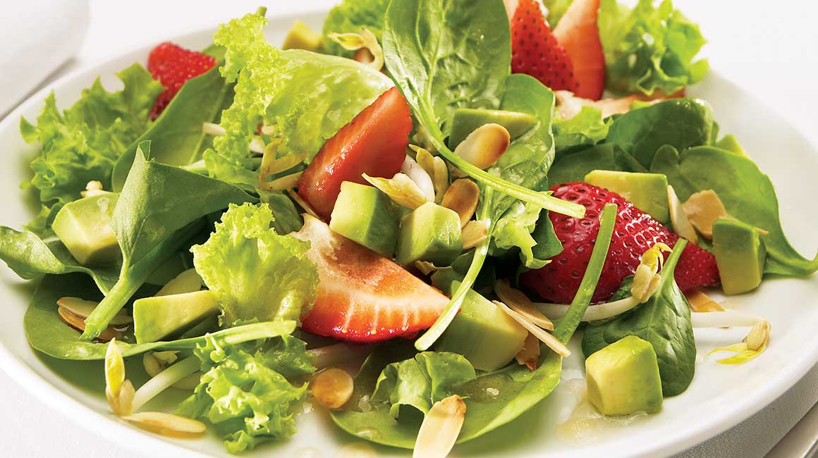 Strawberry and greens summer salad