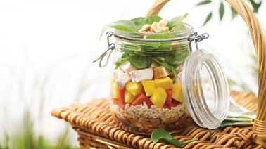 Chicken & mango mason jar salad from Alexandra Diaz and Geneviève O'Gleman