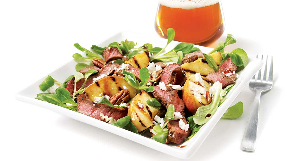 Summer bison salad with smoked paprika and grilled peaches