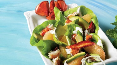 Grilled lobster, avocado and pink grapefruit salad