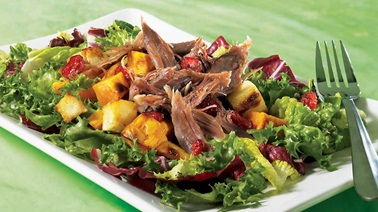 Grilled vegetable and duck confit salad