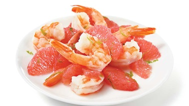 Red grapefruit and shrimp salad