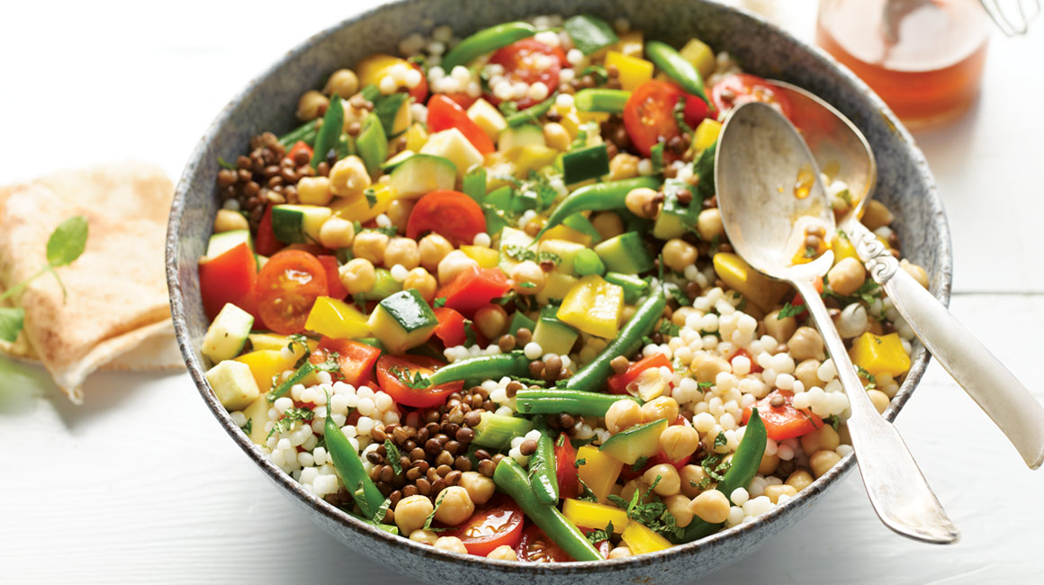 Chickpea and couscous salad with harissa vinaigrette