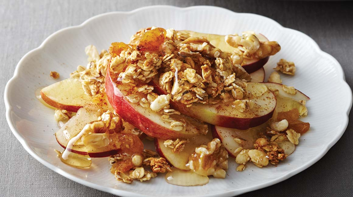 Spiced apple salad with granola