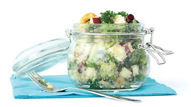 Quinoa and broccoli salad with mixed nuts and dried fruit