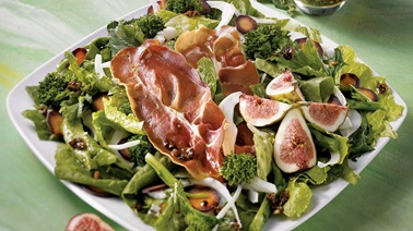Rapini, fig and prosciutto chip salad