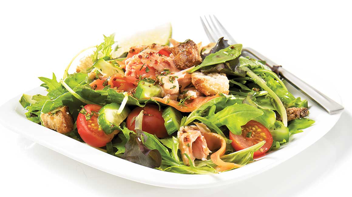 Two-salmon meal salad