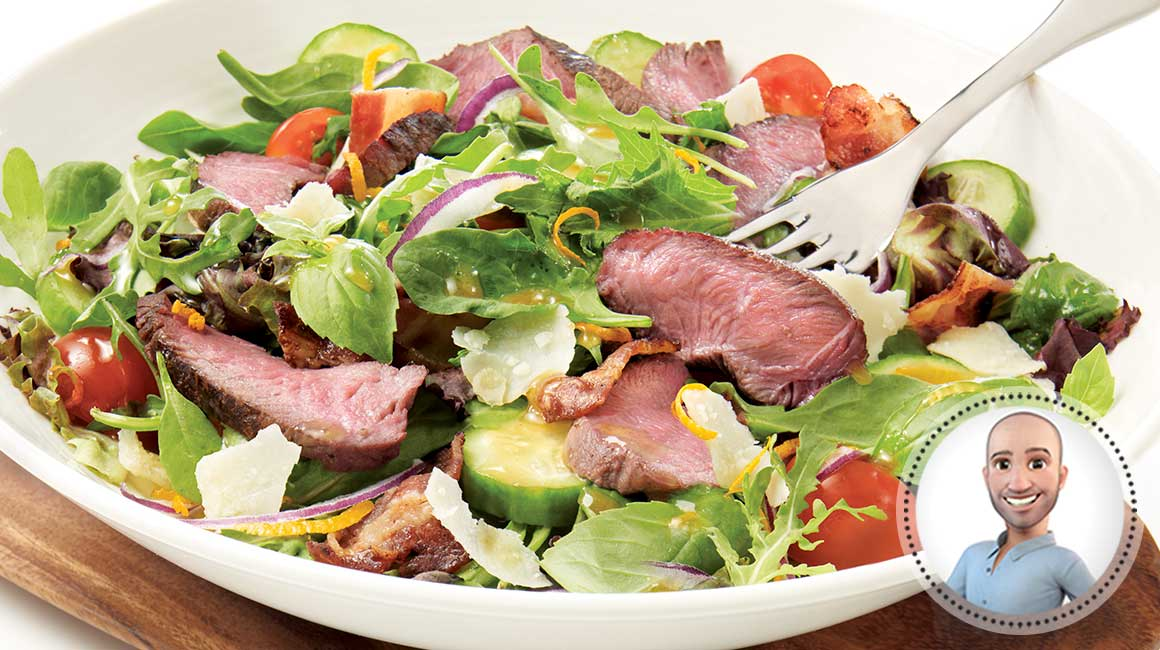 Grilled bison medallion salad from Stefano Faita