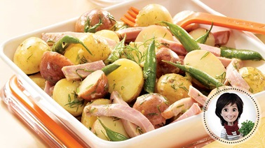 Baby potato, green bean, and ham meal salad from Josée di Stasio