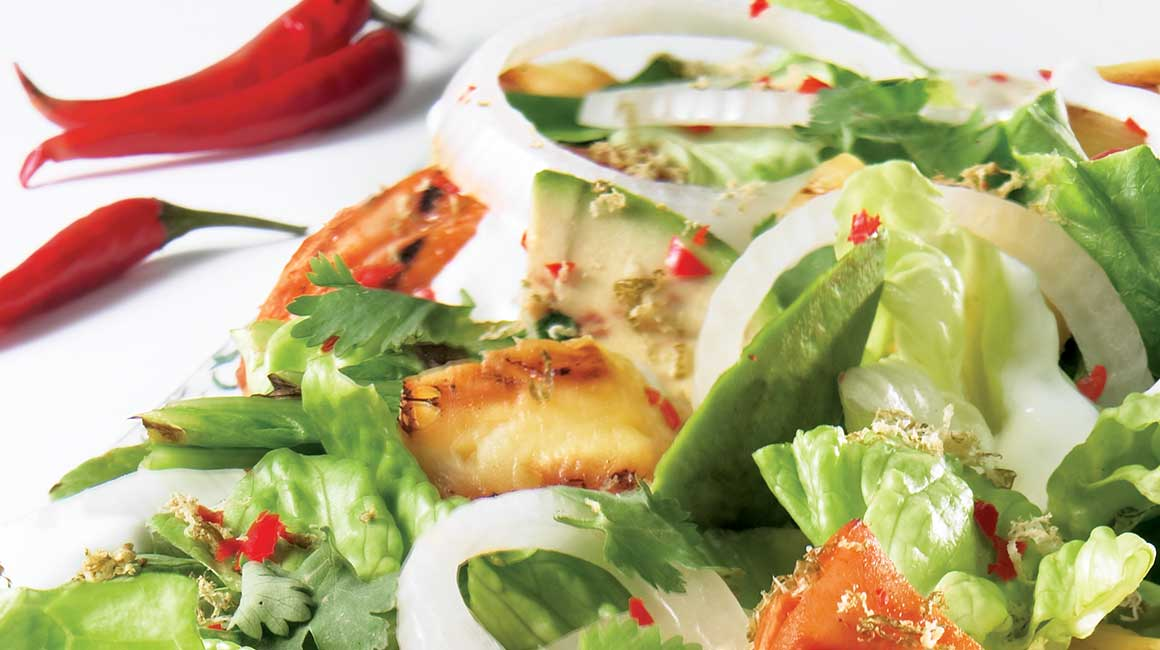 Spicy Chicken and Grilled Romaine Salad