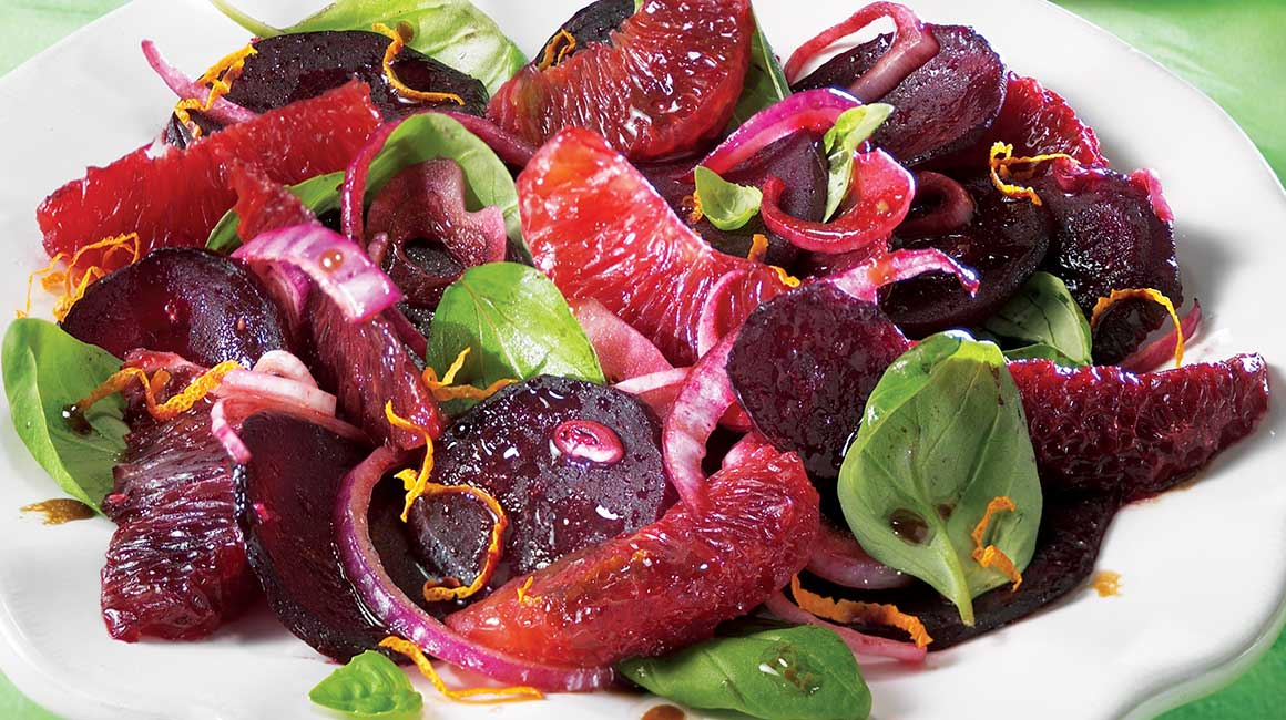 Warm beet and blood orange salad