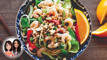 Asian-style warm shrimp salad