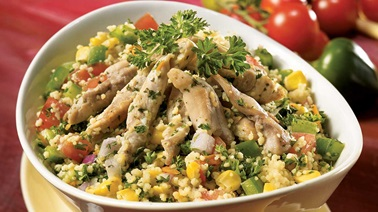 Mexican-style warm chicken and couscous salad