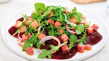 Warm beet and pancetta salad
