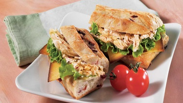 Roasted chicken and cranberry sandwich