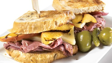 Smoked meat, peach and cumin sandwiches