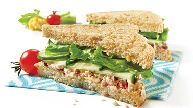 Chicken and dried tomato salad sandwiches