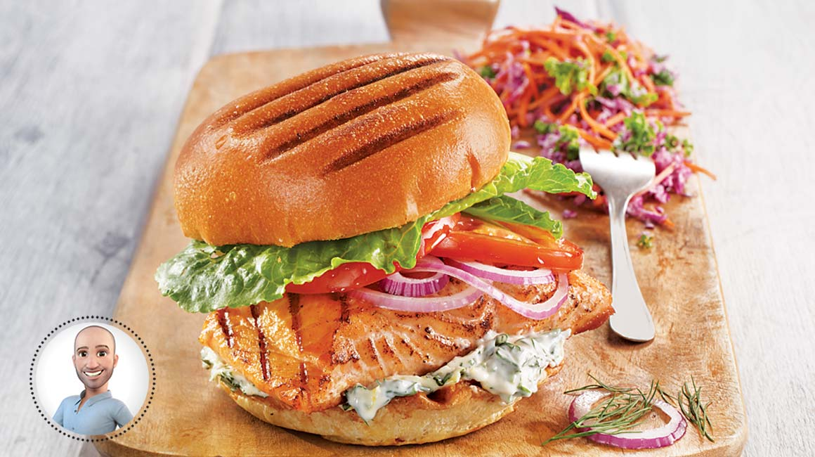 Grilled salmon sandwiches from Stefano Faita | IGA recipes ...