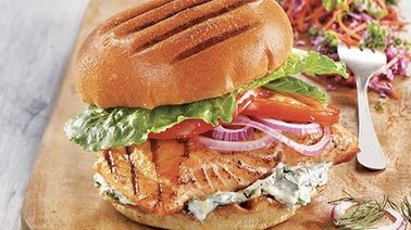 Grilled salmon sandwiches from Stefano Faita