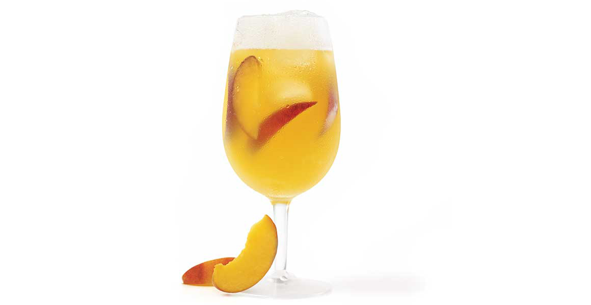 Beer and peach sangria