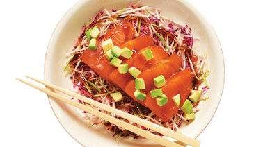 Tamari & maple sashimi with crispy salad