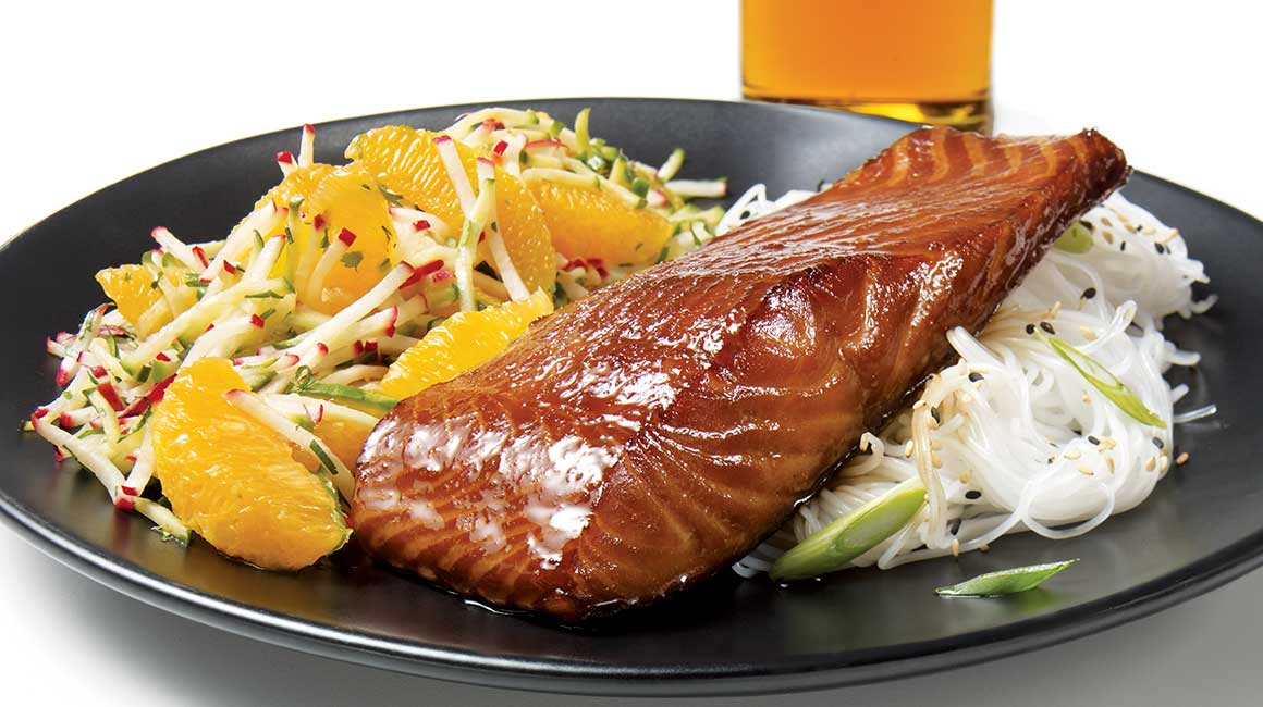 Japanese-style beer-marinated salmon