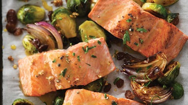 Maple-grilled salmon and Brussel sprouts