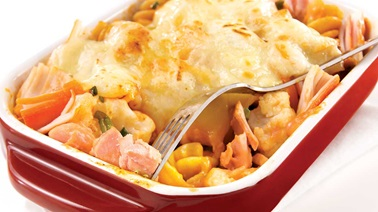 Gratin of salmon and surimi