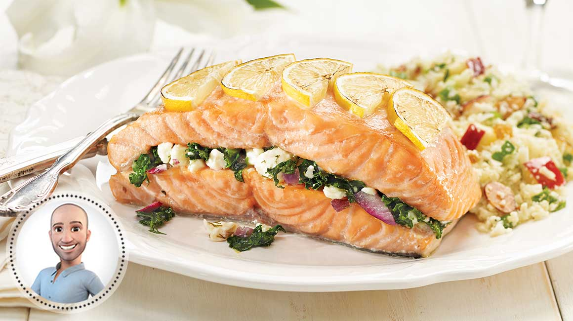 Feta- and-kale-stuffed salmon