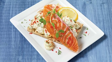 Royal smoked salmon and wasabi whipped cream appetizers