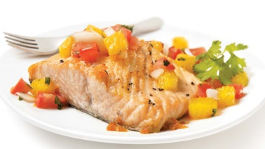 Roasted Salmon with Tomato, Orange and Ginger Salsa