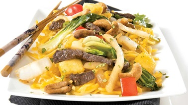 Beef, Chinese vegetable, and cashew stir-fry