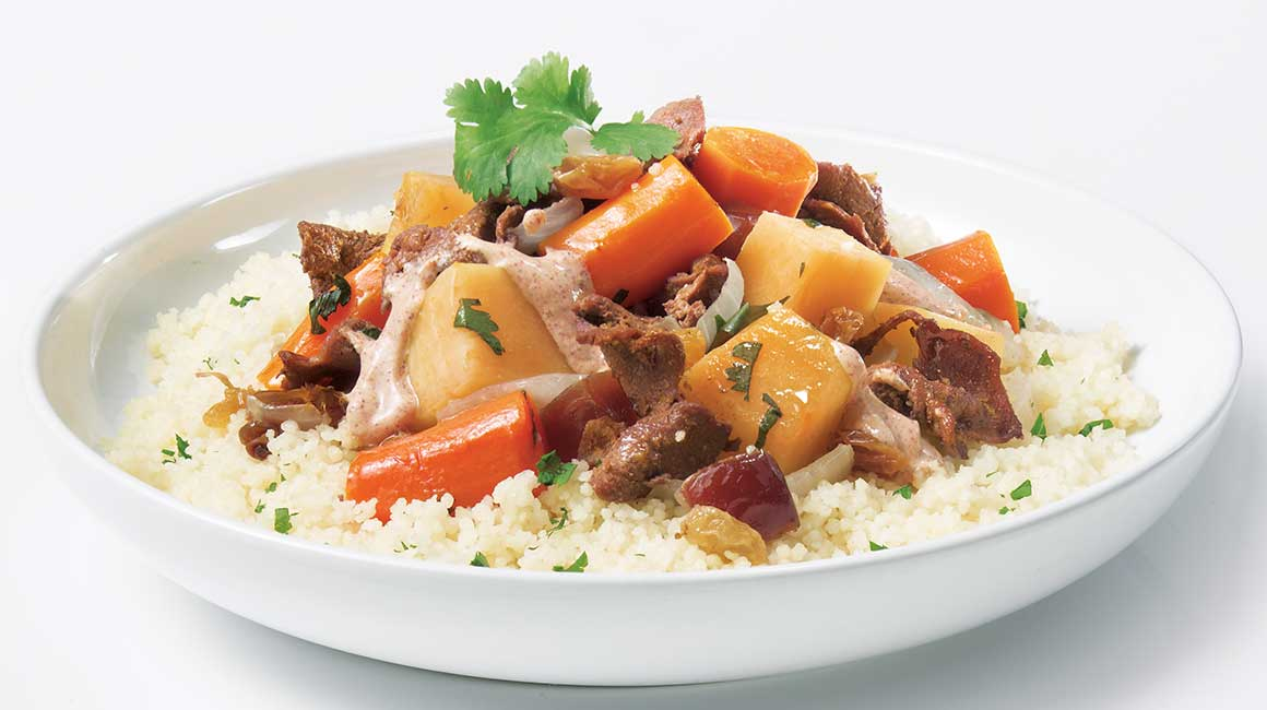 Moroccan stir-fried kangaroo meat and venison