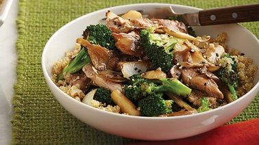 Pork stir-fry with broccoli and mushrooms
