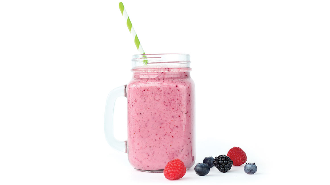 Vitamin-packed yogurt, melon juice, and berry smoothie